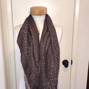 Talbots brown leopard print fringe scarf wrap